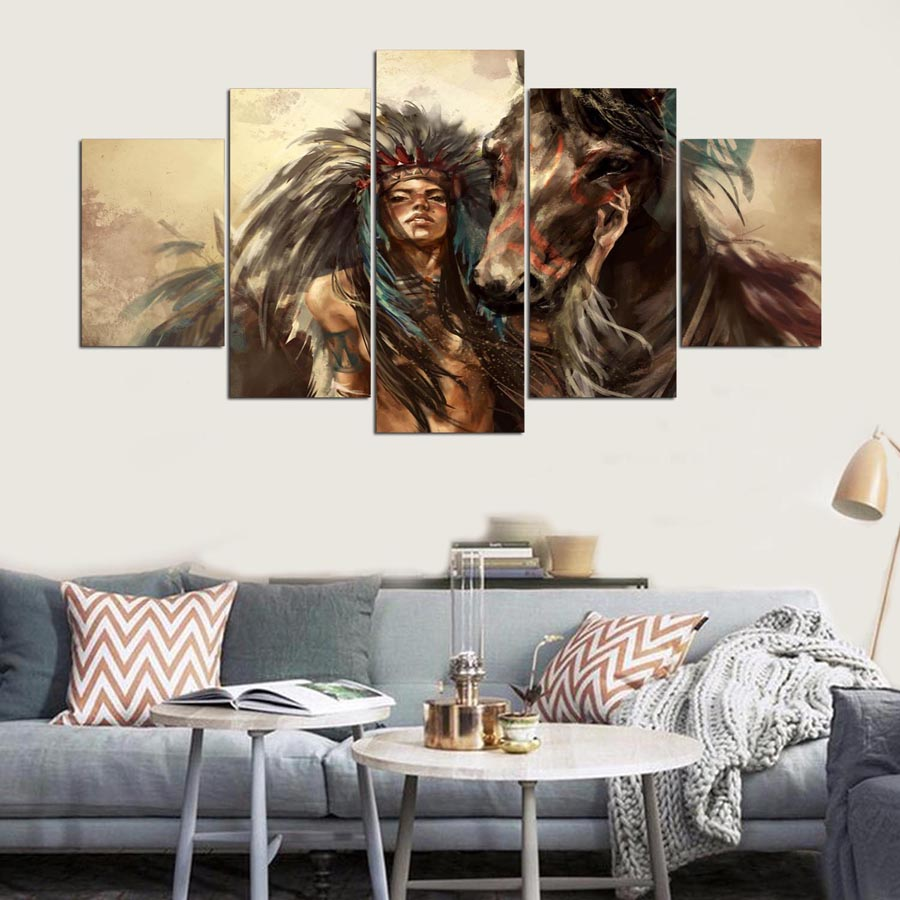 5-panel-hd-Native-American-girl-and-horse-Art-print-canvas-art-wall-framed-paintings-for (3)