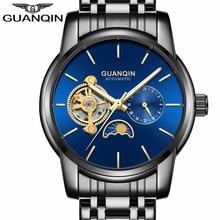 Reloj para hombre de Los Hombres de Lujo Superior de la Marca GUANQIN Tourbillon Automático Reloj Mecánico Reloj Masculino Mecánico Reloj Relogio masculino