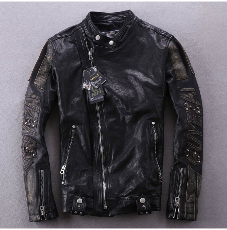 Biker-Jacket Genuine-Leather Sheepskin Vintage Male Rivet Slim Spliced Men