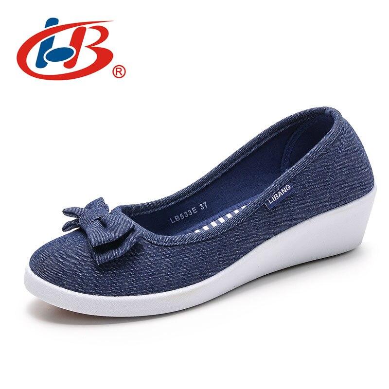 LIBANG Haute Qualité Femmes Plate-Forme Chaussures Coins Automne D'été Femmes Pompes Peu Profonde Respirant Chaussures Femmes Toile Chaussures avec Arc
