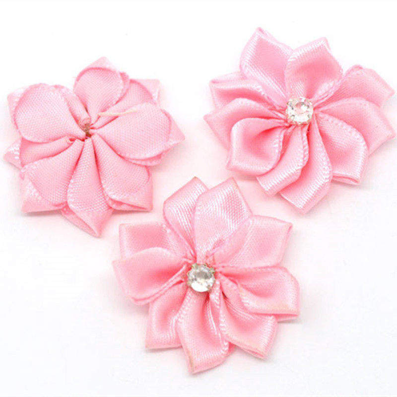 50Pcs DIY Scrapbook Ribbon Pink Flowers Rhinestone Wedding Party Decorative 30mm in Artificial Dried Flowers from Home Garden