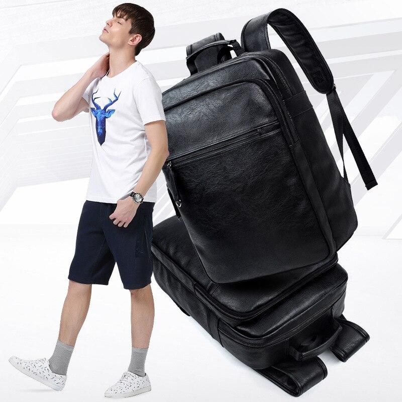 Luxe merk bookbags mannen rugzak leer mannelijke functionele tassen - Rugzakken - Foto 3