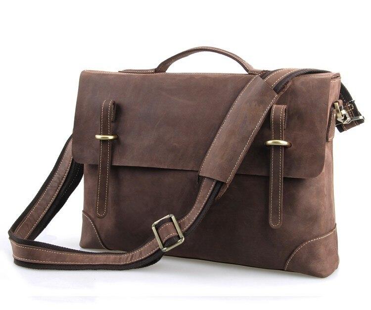 Nesitu High-end Vintage Brown 100% Real Genuine Leather Crazy Horse Leather Briefcase Men Portfolio Messenger Bags #M7228B