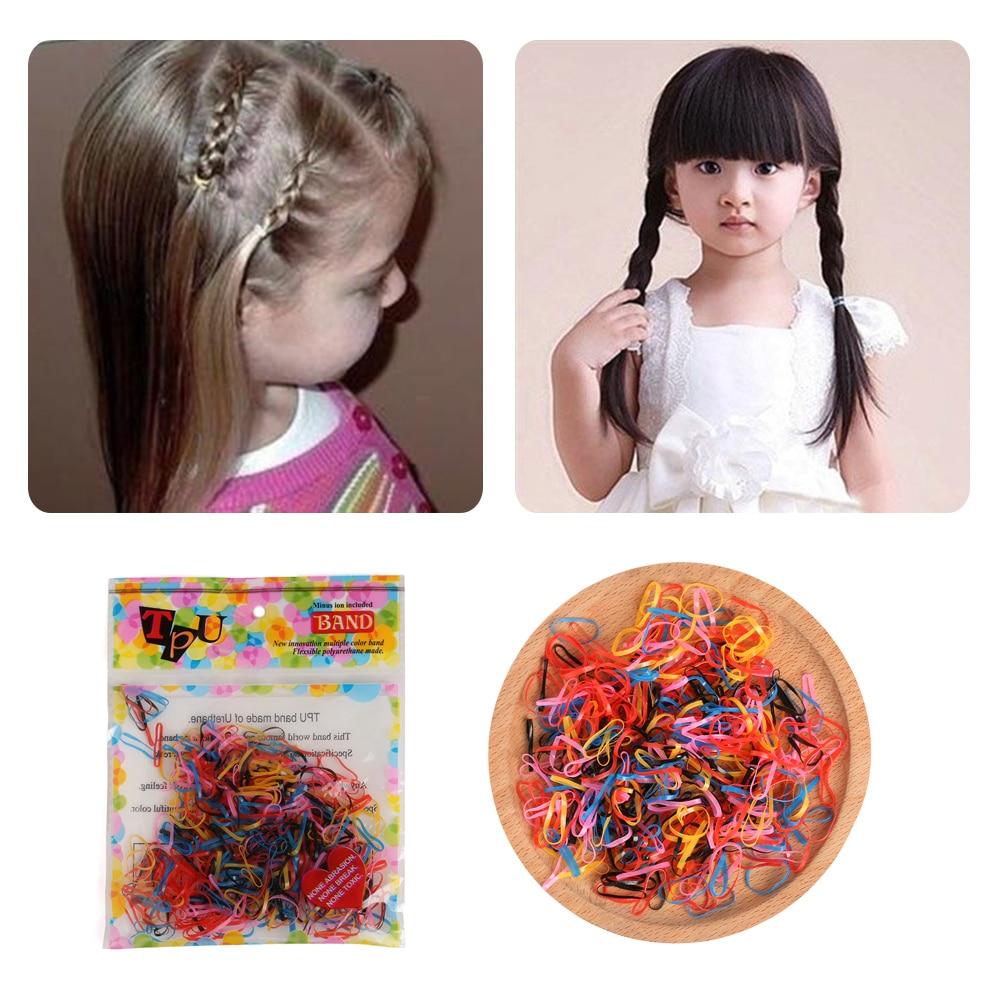 400pcs Hot Rubber Hairband Rope Ponytail Holder Elastic Hair Band Braids Plaits