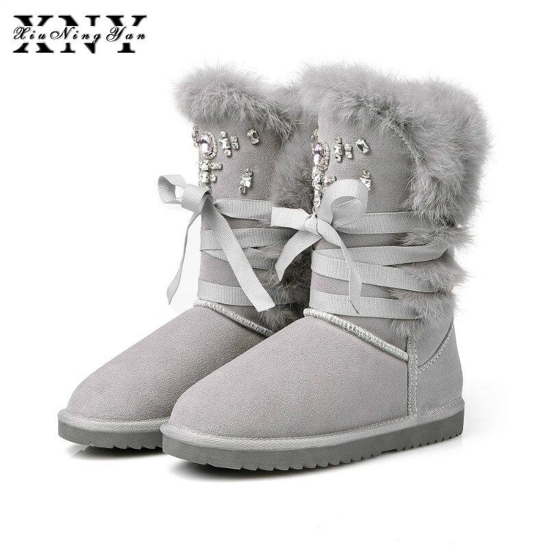 4eceb5dd125 Mujer Felpa Botas Gamuza Zapatos Al Moda Impermeable Libre Conejo Invierno  Xiuningyan Aire Pelo De Para Cordones gris Natural Nieve Negro Vaca Cálido  qg5vy