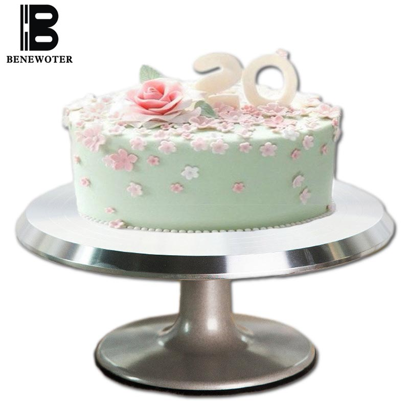 12 Inch Aluminum Alloy Baking Tools Cake Decorating Base Turntable Platform Round Rotating Revolving Cakes Stand Swivel Plate