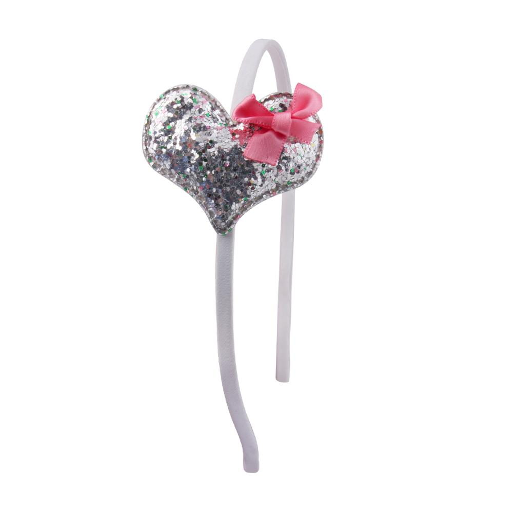 1PC Children 39 s Headband Heart Gifts Party Kids Pink Hairband Star Girls Silver Heart Sequin Handmade Hair Accessories in Hair Accessories from Mother amp Kids