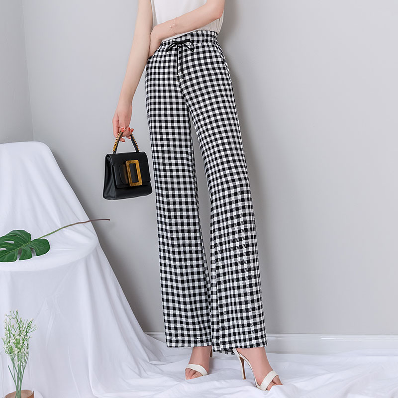 High Waist Plaid   Wide     Leg     Pants   Women Summer Casual Loose Lace Up Full Length Trousers Women Streetwear Palazzo   Pants   Plus Size
