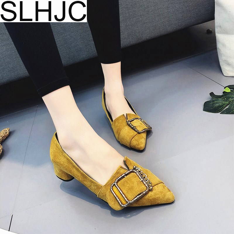 SLHJC 2018 Spring Autumn Pumps Shoes Women Low Heel Pointed Toe Square Heel Metal Buckle Casual Fashion Slip On Pump 3 cm Heel xiaying smile new spring autumn women shoes british style retro casual pantshoes lace shoes square heel pointed toe rubber pumps