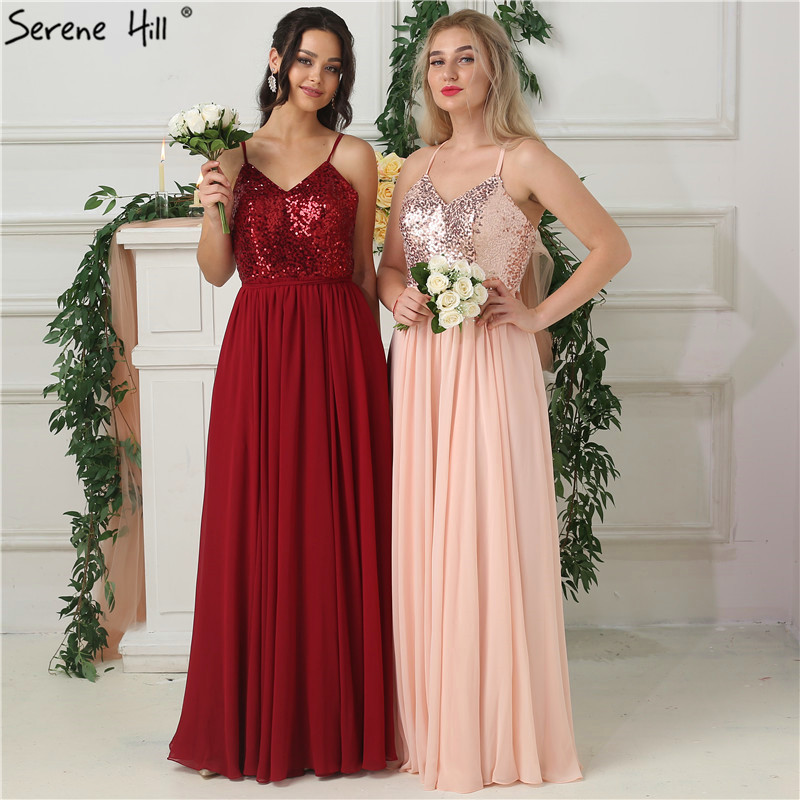 2019 Wine Red Sequined Sleeveless   Bridesmaid     Dresses   Sleeveless Simple Sexy Chiffon Bride Gowns Real Photo HA2183