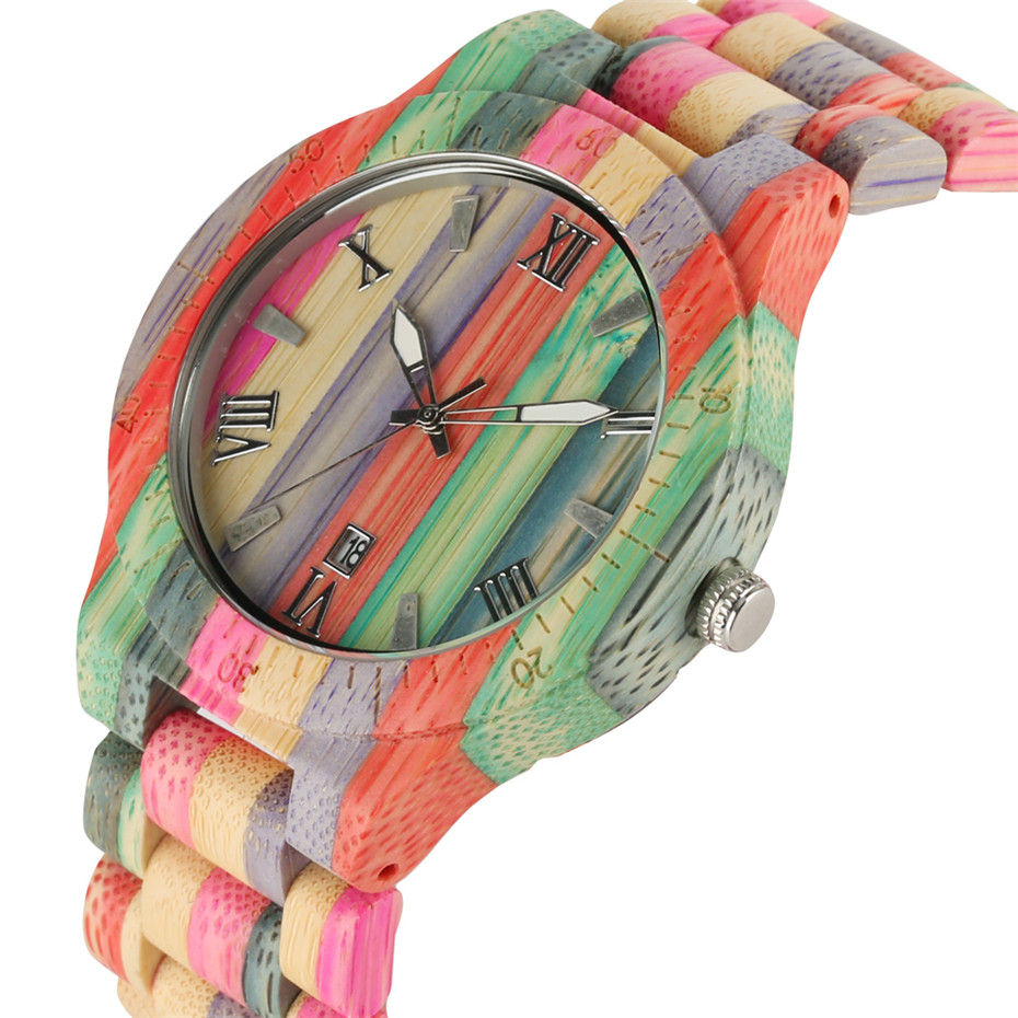 Unique Style Watches for Men Women Colorful Full Wooden Wristwatch Bamboo Band Couple Watch 2018 Fashion Clock Gifts for Lover& hot selling zebra wooden watches for men and womens lover fashion wristwatch with genuine leather straps