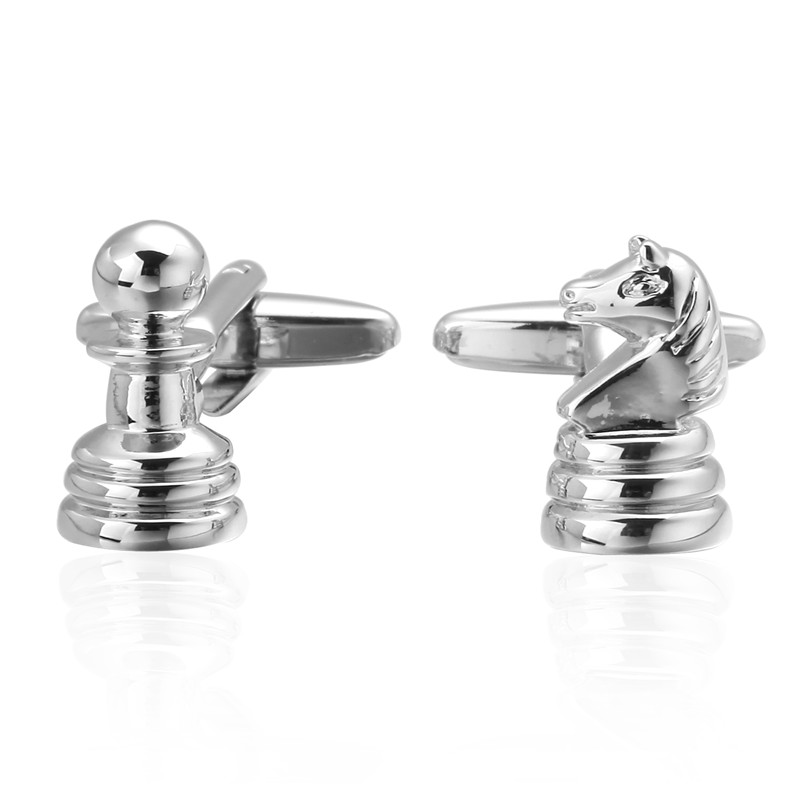 C-MAN Luxury shirt silver Chess Cufflinks brand Hipster Cufflinks For Men Gift for Dad Gift for Husband Fathers Day Gift