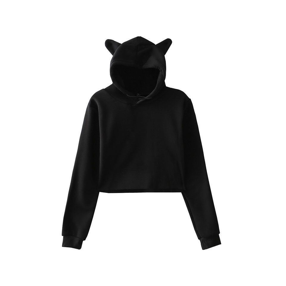 XXS-XXL Autumn 2018 Solid Color Cropped hooded Hoodies Women Short Style Sweatshirts Black Blue Grey Cat CROP hooded Pullovers