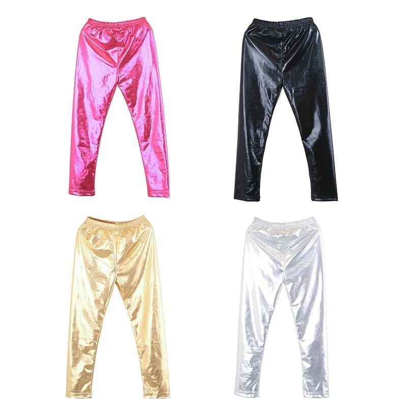 Spring Girl Leggings New Baby Kids Metallic Ballet Toddler Pants Trouser Thin Girls Faux Leather Pants  Spring Girls Leggings