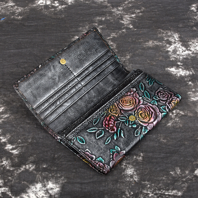 2018 Genuine Leather Women Wallet Lady Long Wallet Female Coin Purse Clamp For Money WomenS Purse Clutch Handy Portomonee Rfid
