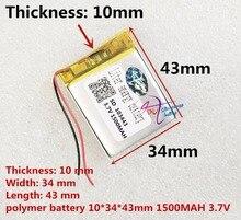 Liter energie batterie 3,7 V lithium polymer batterie 103443 1500 MAH 103545 spiel maschine MP3 MP4 MP5 lithium batterie GPS navigator