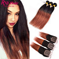 Ombre Brazilian Straight Hair With Closure T1B/33 Two Tone 3 Bundles With Closure 7A Mobre Straight Virgin Hair With Closure