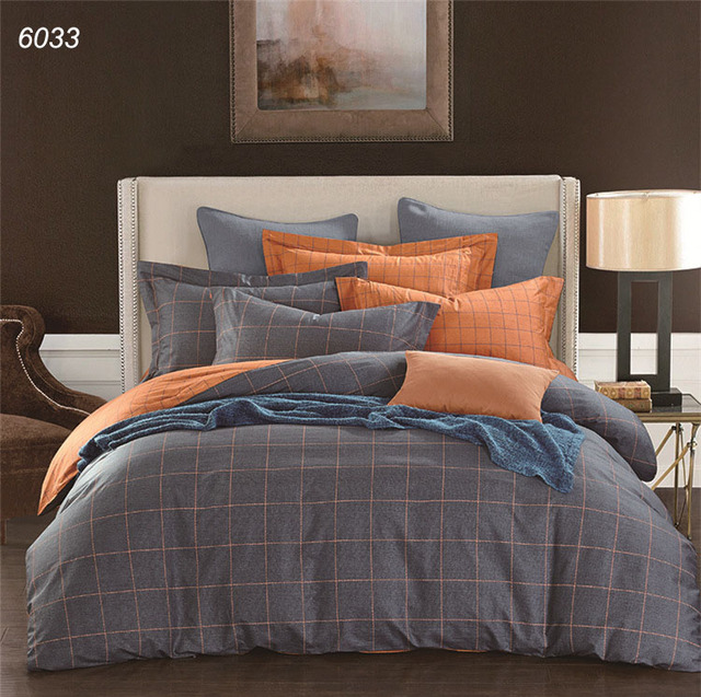 Plaids Bedding Sets Blue Grey Orange Duvet Cover Sheet Pillowcases Pure Cotton Bed Linens Brief Hometextiles