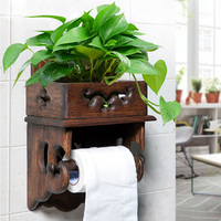 Vintage Wood Paper Towel Rack Toilet Paper Rack Toilet Tissue Box Bathroom Roll Holder Toilet Paper Holder Free of Punching