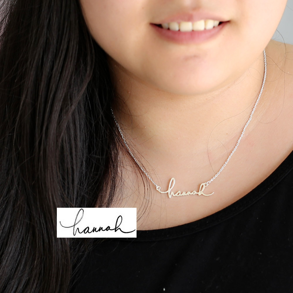 925 Solid Silver Custom Hand Write Name Necklace Cut with Your Signature Jewelry Personalized Nameplate Pendant v cut solid romper with tied strap