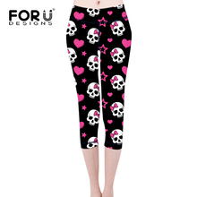 FORUDESIGNS New Casual Leggings Women Fitness Leggings 3D Skulls Pattern Spring Summer Workout Panty Female Mesh