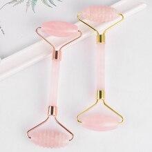 Дизайн дермаровый массажный ролик натуральный розовый кварц массажный камень массаж лица антивозрастной целлюлитный лифтинг массажный инструмент