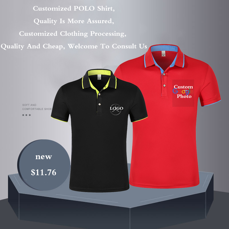 Polo   Shirt Men and Women Unisex Cotton Short Sleeve Advertising Tops Custom Print Picture Logo For Family Group Casual   Polos