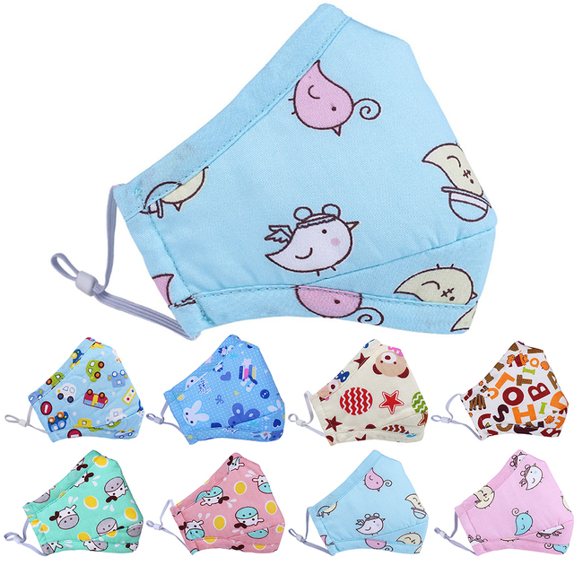 Mouth Masks Cartoon Printing Dustproof Breathable Kids Cotton Mouth Face Nose Mask Cover With Filter Respirator Anti-Dust 1