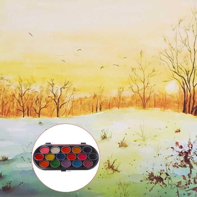 16Pcs สีน้ำ Palette ชุดแปรงถาด Craft Drawing Art Mini ของขวัญเด็ก