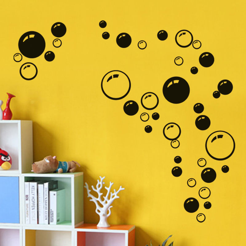 Beauty Black hot pink blue Bubble Wall sticker Wallpaper decals ...
