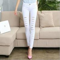 Plus Size Kobiety Moda Bawełna Dziura Ołówkowe Spodnie Skinny Dziewięć Punktów Spodnie Wysokiej Talii Dżinsy Stretch Slim Ołówek Spodnie Capris