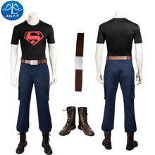ManLuYunXiao 2017 Cosplay Costume Superboy Roleplay Young Justice Men's T-shirt Pants Cosplay Free Shipping Custom Made