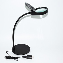 Desktop 3X/10X Magnifying Glass LED Light Magnifier Jade Jewelry Observation Tool