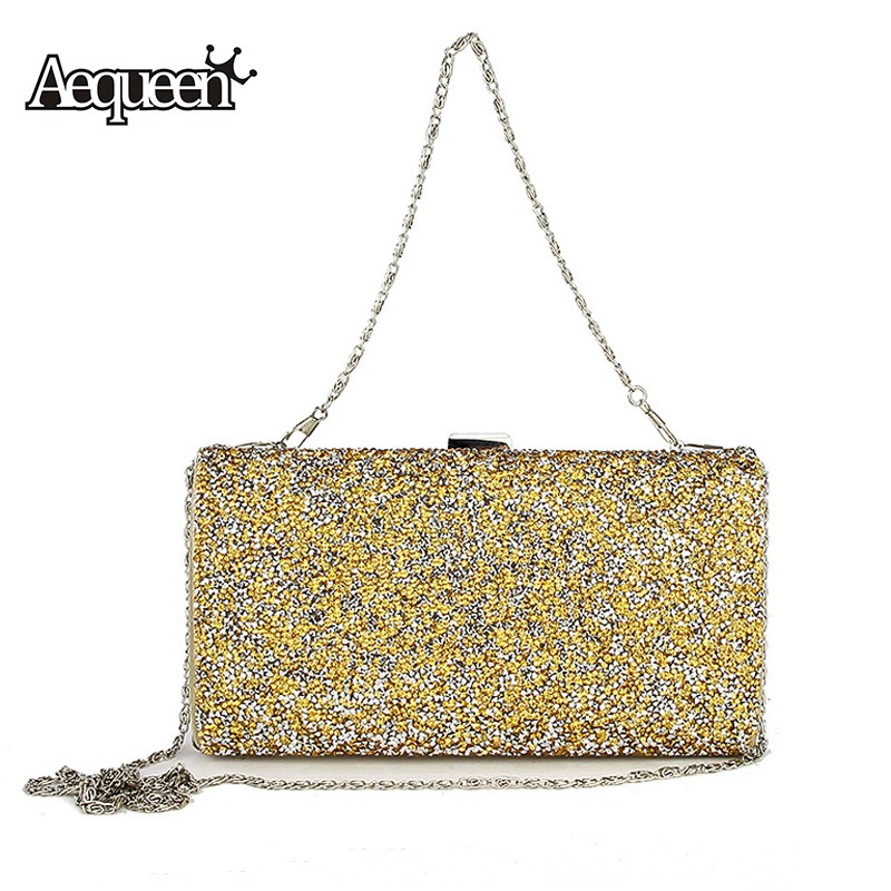 AEQUEEN Evening Clutch Bags Women Wedding Party Bags Retro Shoulder Bags Ladies Day Clutches Diamond Chains Handbag retro 2017 floral beaded handbag women shoulder bags day clutch bride rhinestone evening bags for wedding party clutches purses