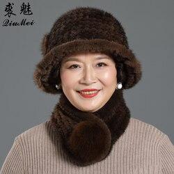 Gorro de piel de visón genuina para invierno, sombreros y bufandas de piel de zorro, conjunto de bufandas de punto para mujer, gorros de Piel de visón natural cálidos, conjunto de bufanda, regalo de fiesta
