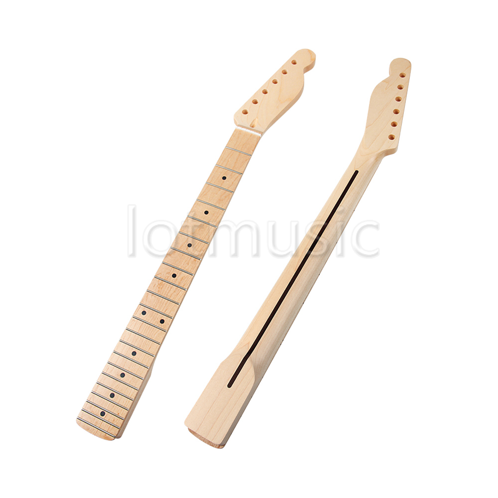 Guitar Neck Maple 22 Fret Maple Fingerboard Black Dot Inlay for Fender Tele Replacement Parts 2pcs electric guitar neck maple 22 fret left hand for fender strat replacement