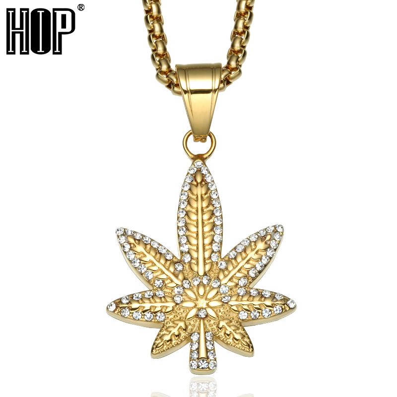 HIP Hop Bling Ice Out Crystal Pave <font><b>Plant</b></font> Maple Leaf Necklaces & Pendants Gold Color Titanium <font><b>Cannabiss</b></font> Necklace for Men Jewelry image