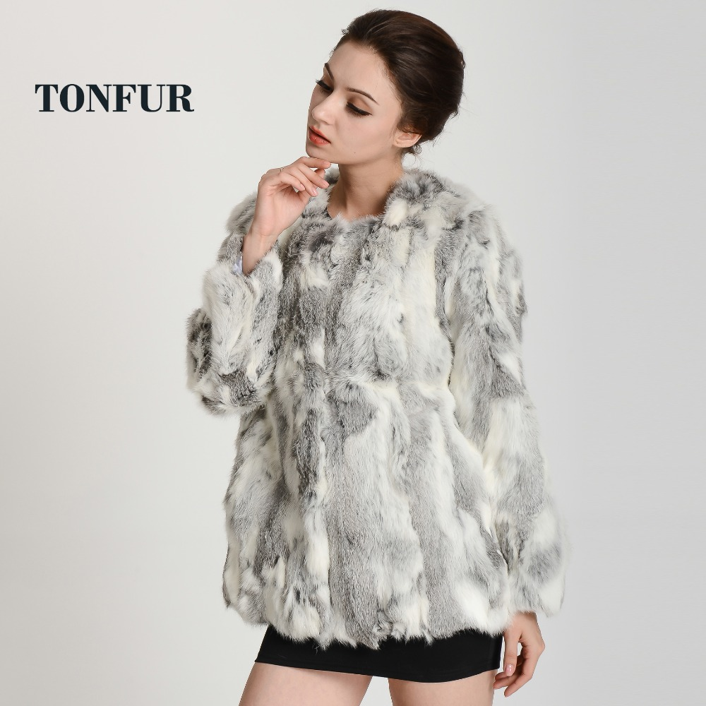 2019 New Arrival Women Real Rabbit Fur Coat Round Collar Genuine Fur Coat DH125-in Real Fur from Women's Clothing    1