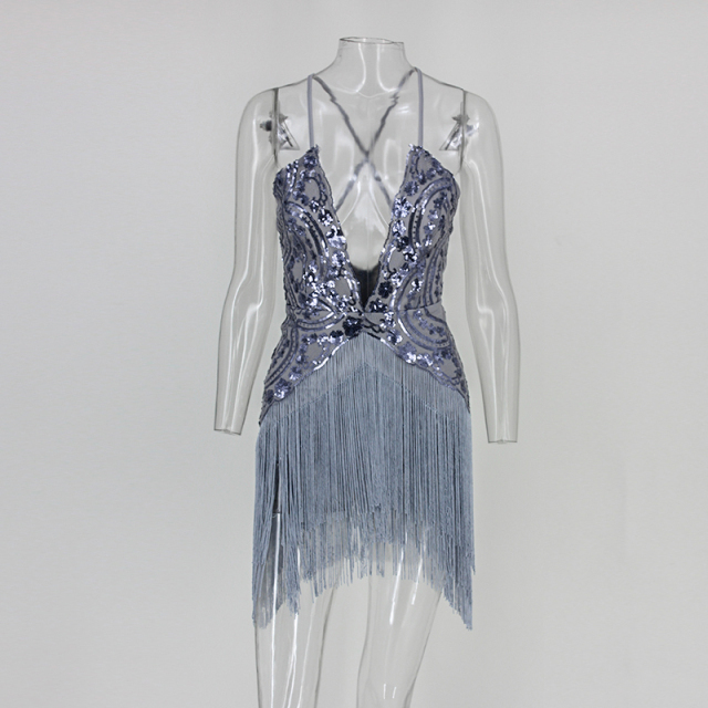 Sexy backless sequin tassel gatsby dress