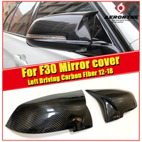 1 Pair Rearview Mirror Cover Cap Housing Left Driving Carbon Black For BMW F30 3 serier 318i 320i 325i 330i Mirror Cover 2012 18