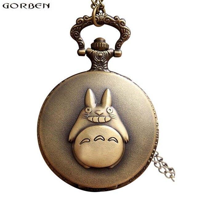 Antique My Neighbor Totoro Anime Pocket Watch Necklace Retro Bronze Quartz Flip