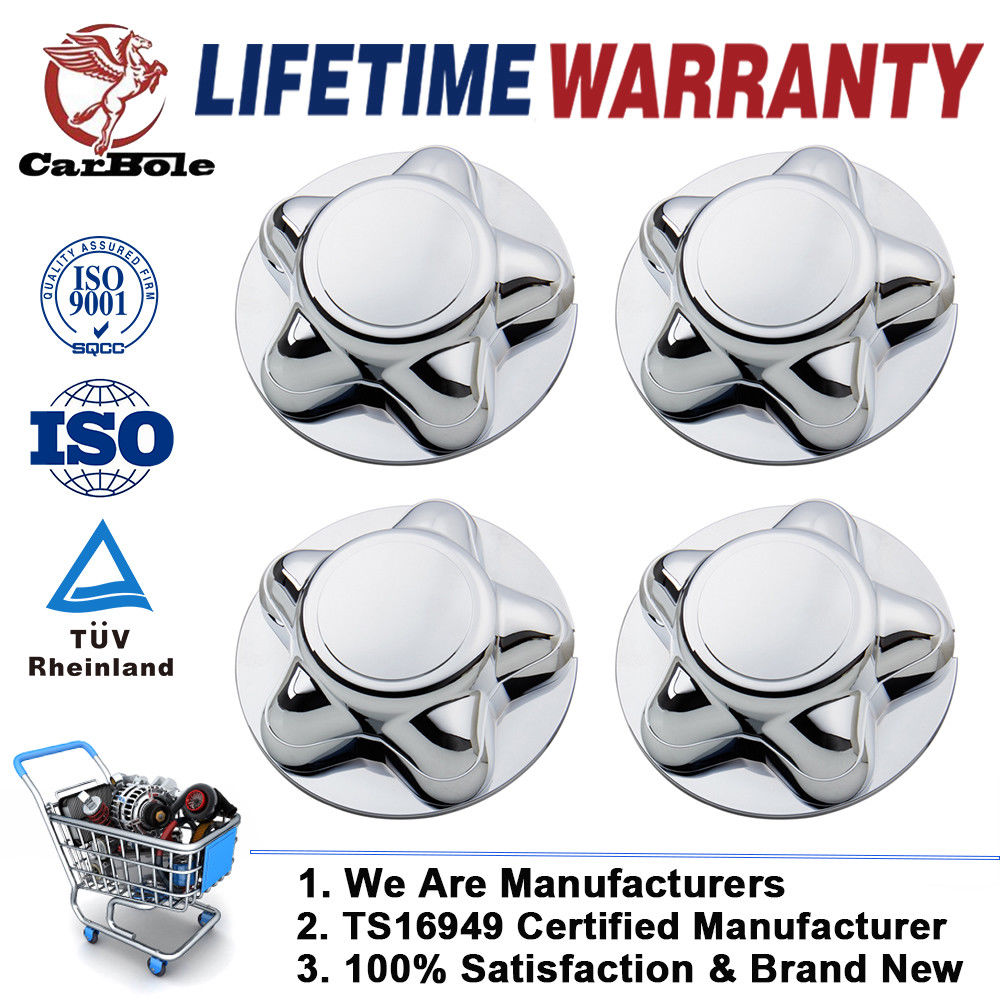 CARBOLE 4Pcs Chrome Center Hubcaps for 97-00 Ford F-150 Expedition With 16 Steel Wheel Cap