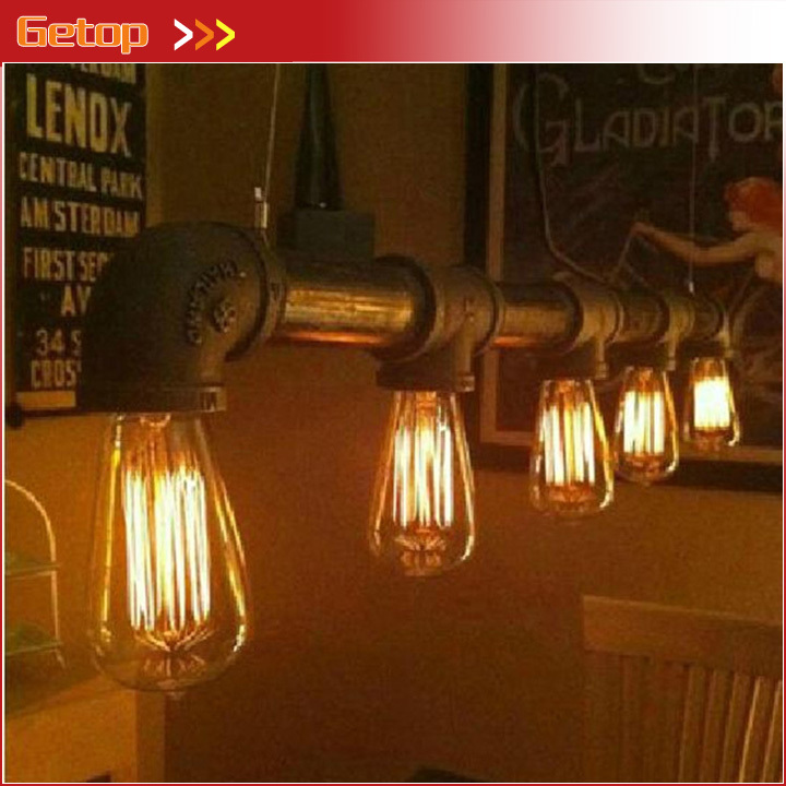 Industrial Rustic Steampunk METAL PIPE Edison Bulb vintage Pendant ceiling Bar light with 5pcs E27 bulbs art deco vintage industrial metal wire cage pendant light guard rustic ceiling mounted lamp cafe pub hotel porch bar