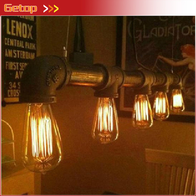 Industrial rustic steampunk metal pipe edison bulb vintage pendant industrial rustic steampunk metal pipe edison bulb vintage pendant ceiling bar light with 5pcs e27 bulbs mozeypictures Images