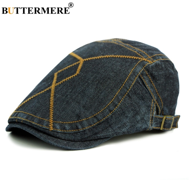 a2501e5d209 BUTTERMERE Vintage Men Berets Cap Male Flat Hats Denim Casual Spring Summer  Gatsby Caps Adjustable Fashion Designer Classic