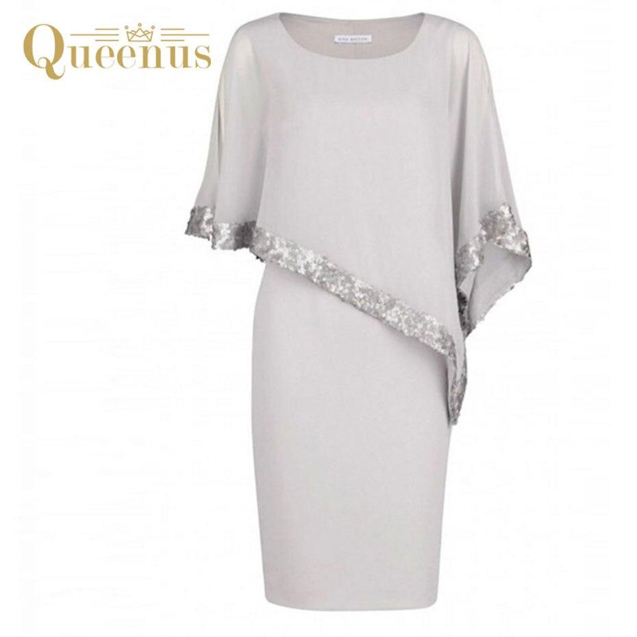 Queenus Women Dress Round Neck Sequins Elegant Business Party Dress Knee Length Light Gray Asymmetric Batwing