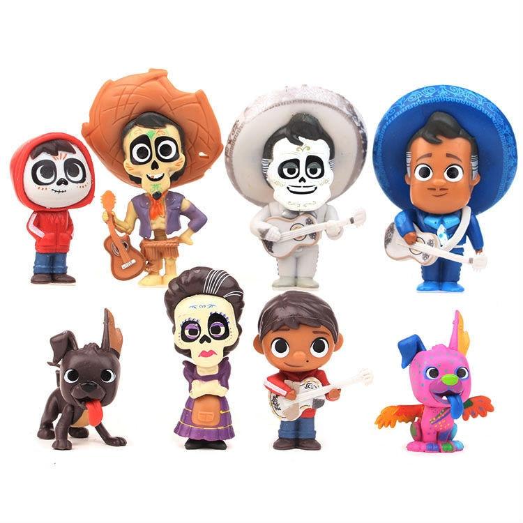 8pcs/set Movie Pixars COCO Cute Character Figure Model Toys