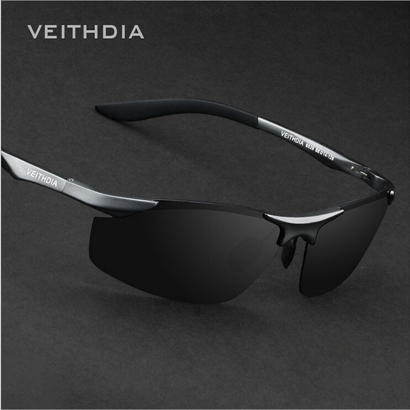 VEITHDIA Brand Designer Rimless Mens Aluminum Sunglasses Polarized Lens Male Sun Glasses oculos de sol masculino For Men 6529