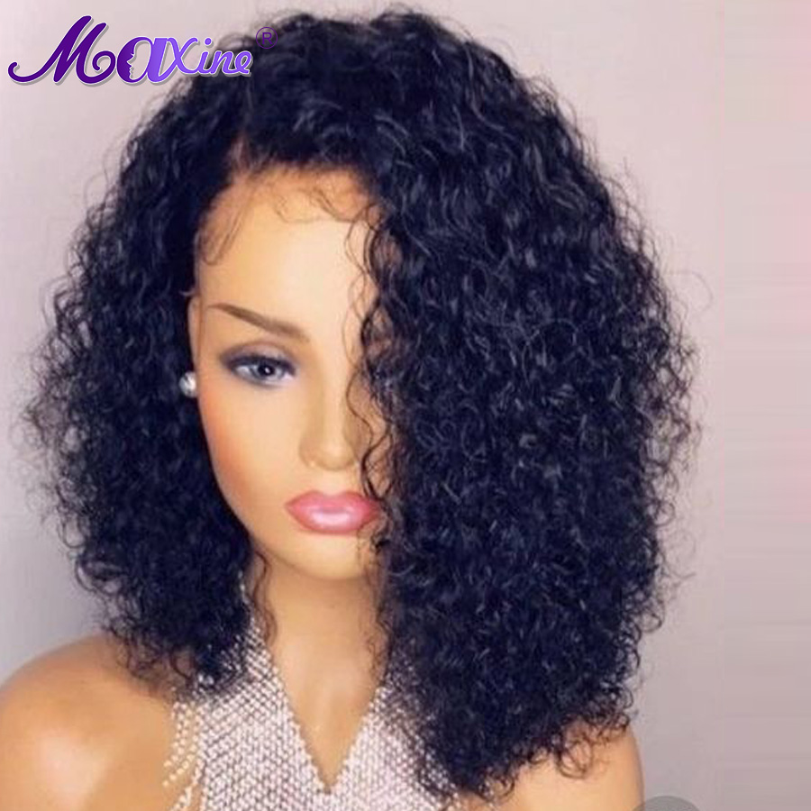 Medium Part Brazilian Virgin Hair Lace Front Bob Wigs 10 ...