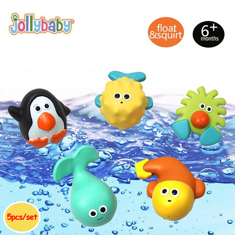 Jollybaby 5pcs Bath Water Spray Splash Float Shower Toy Squirters for The Tub Marine Animal Baby Classic Toy